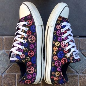 CONVERSE ALL⭐️STAR Rainbow🌈Peace✌️☮️Sign Low Tops